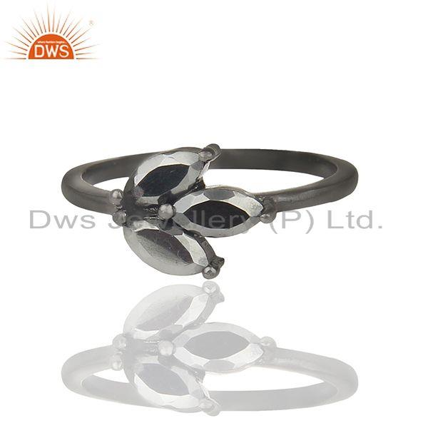 Leaf Design Hematite Gemstone Black Color 925 Silver Rings Jewelry