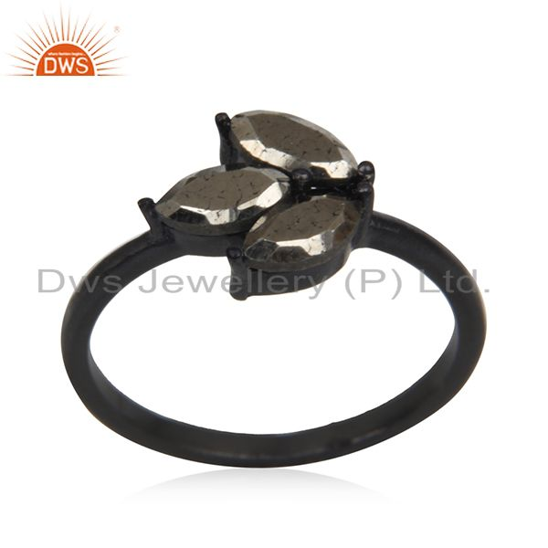 Prong Setting Pyrite Gemstone Black Sterling Silver Ring Manufacturer India