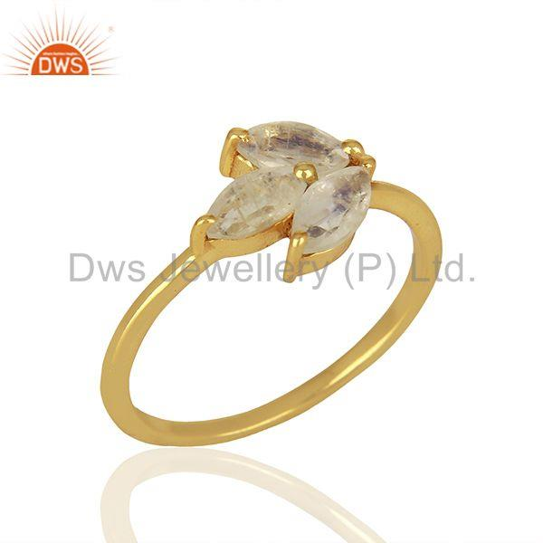 Solid 925 Silver Gold Plated Moonstone Rainbow Gemstone Rings Jewelry