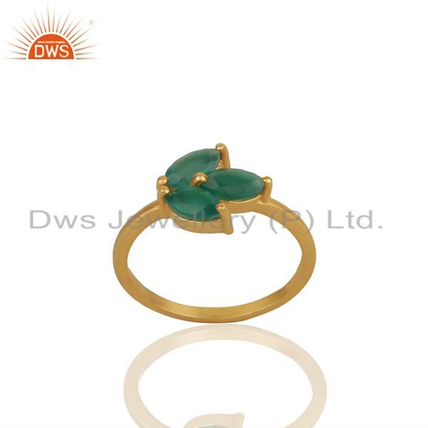 Green Onyx Gemstone 925 Silver Gold Plated Stackable Ring Wholesale