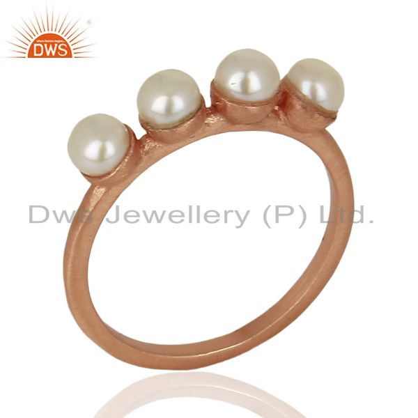 Pearl Band 18K Rose Gold Plated 925 Sterling Silver Ring Gemstone Jewelry