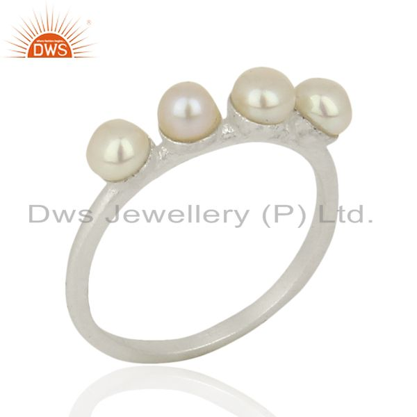 Pearl Band 925 Sterling Silver Handmade Design Ring Gemstone Jewelry
