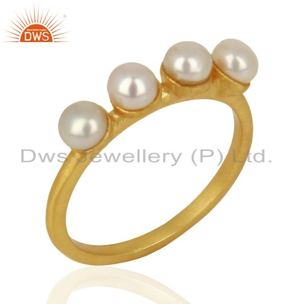 Pearl Band 18K Yellow Gold Plated 925 Sterling Silver Ring Gemstone Jewelry