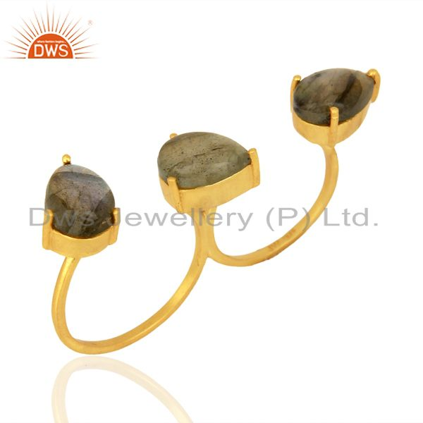 Labradorite Cocktail 18K Yellow Gold Plated 925 Sterling Silver Ring Jewelry
