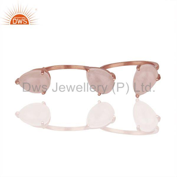 Rose Quartz Gemstone Rose Gold Plated Silver Multi Finger Rings