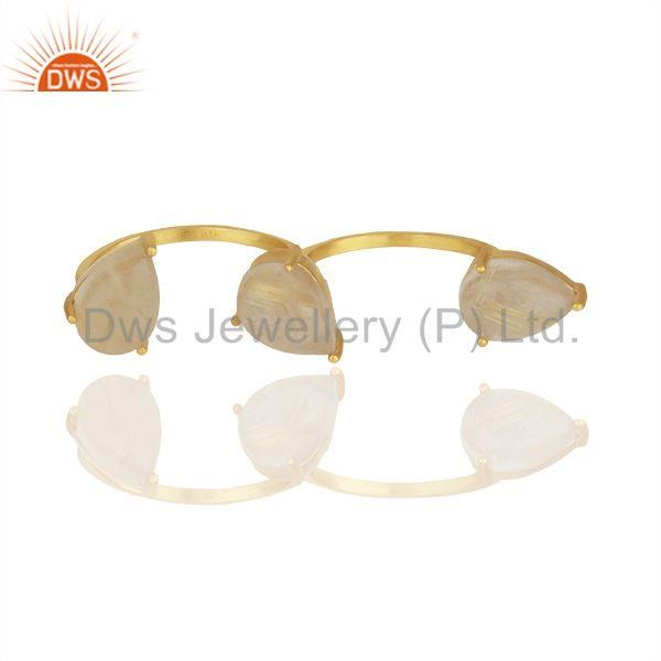 Golden Rutile Quartz Gemstone 92.5 Silver Double Finger Ring Jewelry