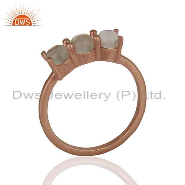 Rose Gold Plated 925 Silver Three Gemstone Rings Manufacturer