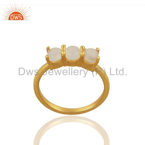 Yellow Gold Plated 925 Silver Three Gemstone Ring Manufacturer