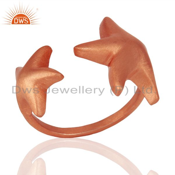 18K Rose Gold Plated 925 Sterling Silver Handmade Star Design Midi Ring Jewelry