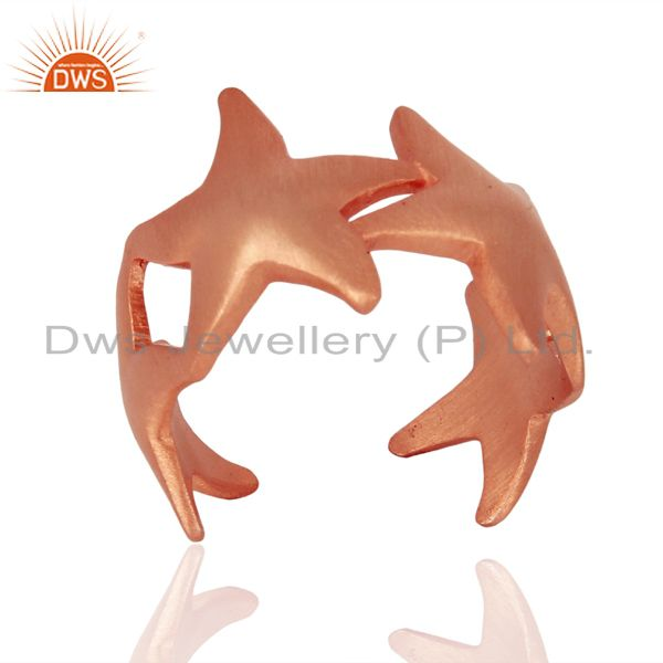 Starfish Style 925 Sterling Silver Rose Gold Plated  Ring Jewelry