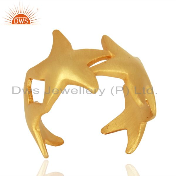 Starfish Style 925 Sterling Silver 18K Yellow Gold Plated  Ring Jewelry