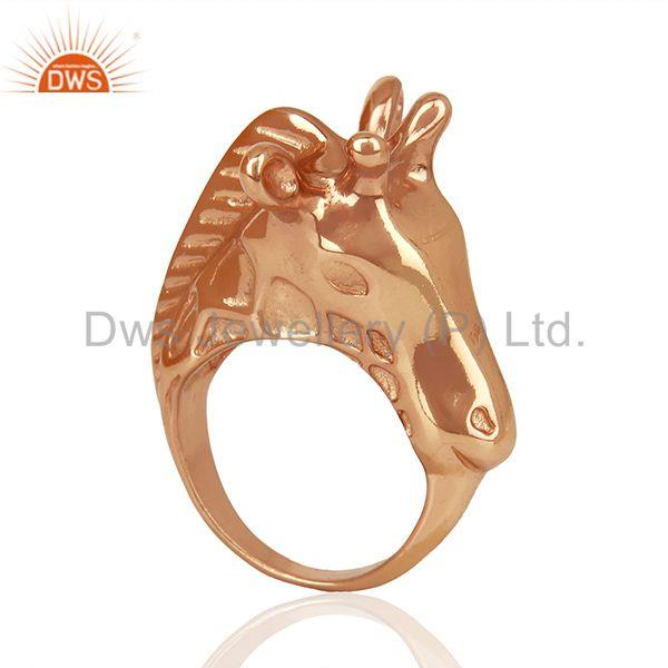 Knuckle Giraffe 925 Sterling Silver Rose Gold Plated Ring Animal Jewellery