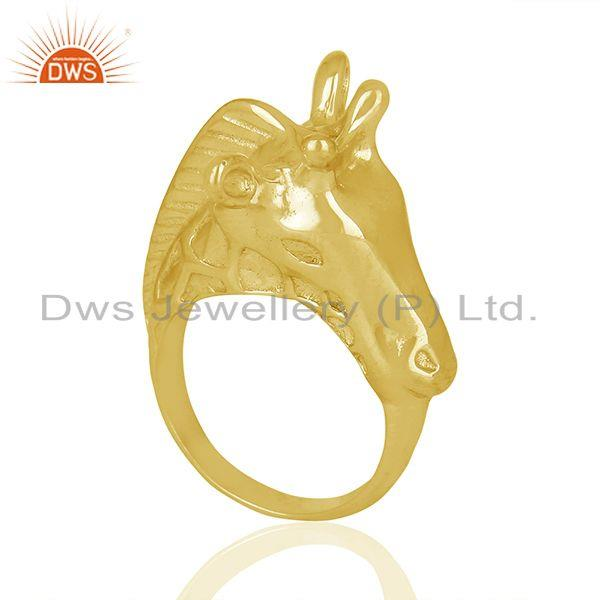 Knuckle Giraffe 925 Sterling Silver 14K Gold Plated Ring Animal Jewellery