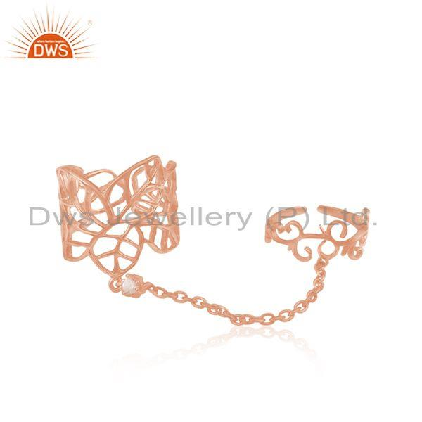 CZ Rose Gold Plated Leaf Design Knuckle Ring Jewelry