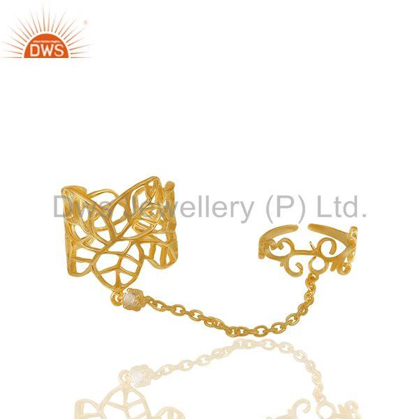 Filigree Design Gold Plated 925 Silver Double Finger Girls Chain Ring