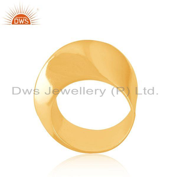 Wholesale Art Deco Gold Plated Plain Silver Band Ring Jewelry For Girls