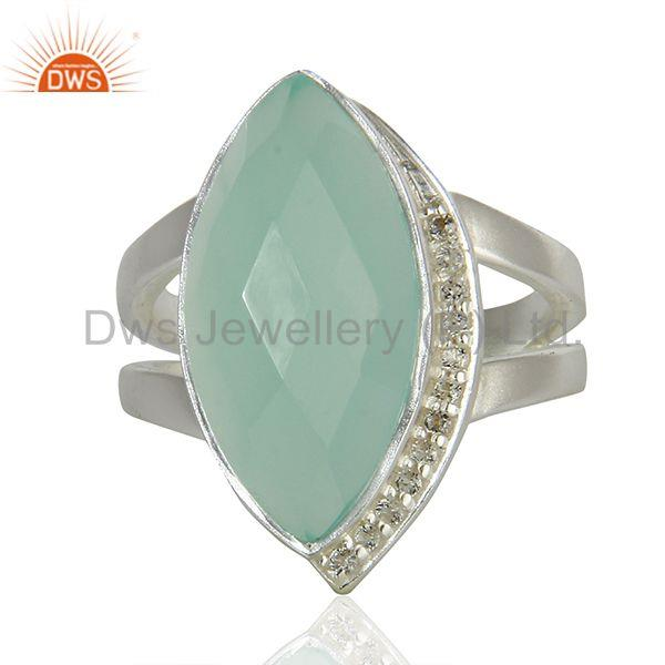 White Topaz Aqua Chalcedony Gemstone Sterling Fine Silver Ring Jewelry