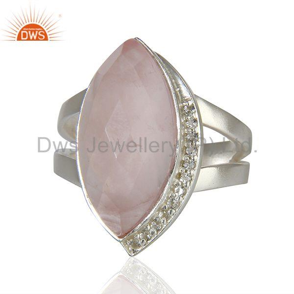 Rose Quartz Gemstone White Topaz Gemstone Sterling Fine Silver Ring