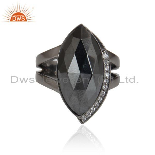 Cz hematite gemstone black rhodium plated 925 silver ring jewelry