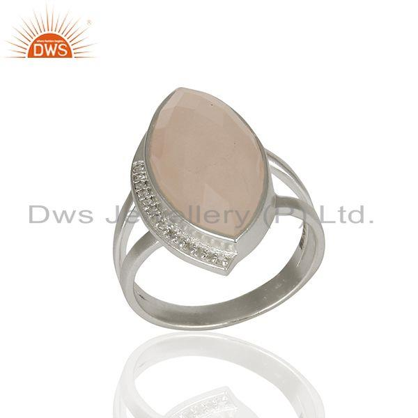 Rose Quartz and Cz Gemstone 925 Sterling Silver Rings Manufacturers