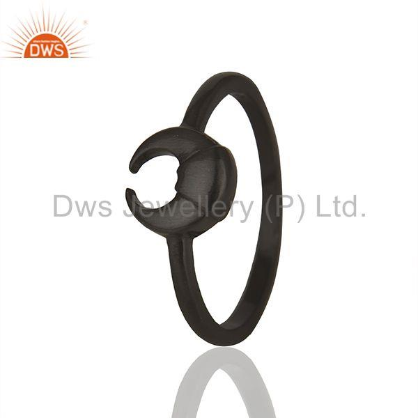 Horse Shoe Design Black 92.5 Silver Stackable Rings Manufacturers