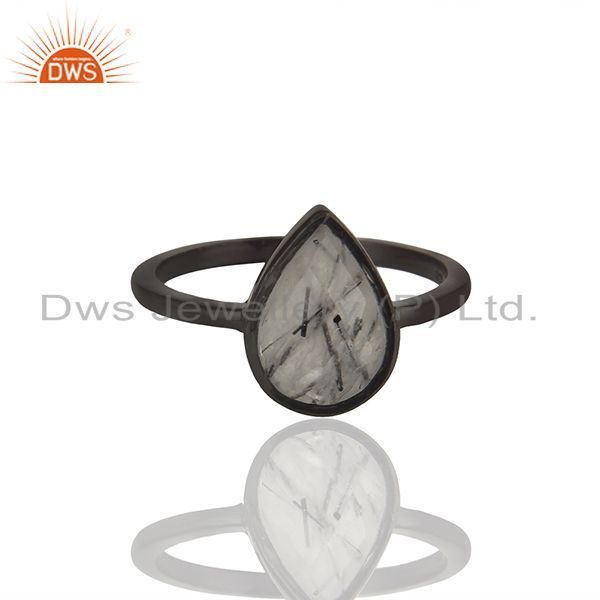 Black Rutile Gemstone Black Color 92.5 Silver Ring Manufacturers