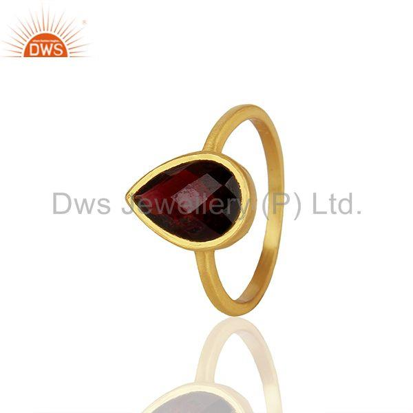 Garnet Gemstone Gold Plated 925 Silver Custom Rings Manufacturer
