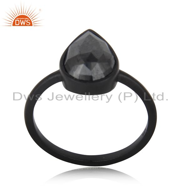 Black Rhodium Plated 925 Silver Hematite Gemstone Stackable Ring Wholesale