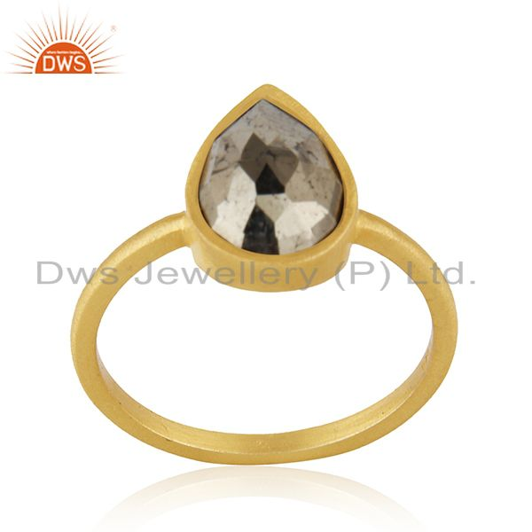 14k Gold Plated Sterling Silver Pyrite Gemstone Ring Manufacturer INdia
