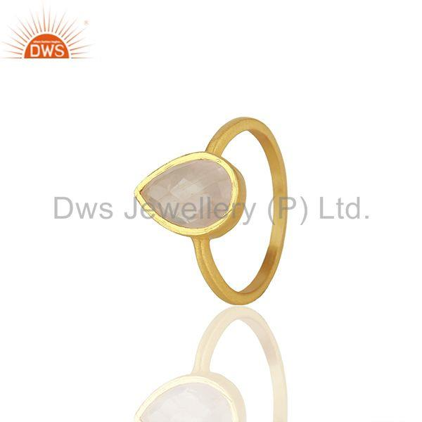Gold Plated Sterling Silver Golden Rutile Gemstone Ring Manufacturer
