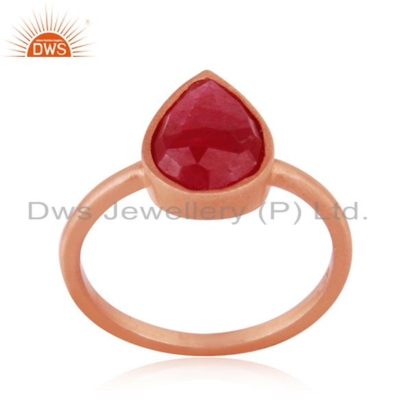 14k Rose Gold Plated Sterling Silver Ruby Corundum Gemstone Ring Manufacturer