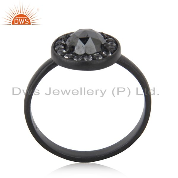 Hematite Gemstone Black Rhodium Plated 925 Silver Ring Manufacturer Jaipur India