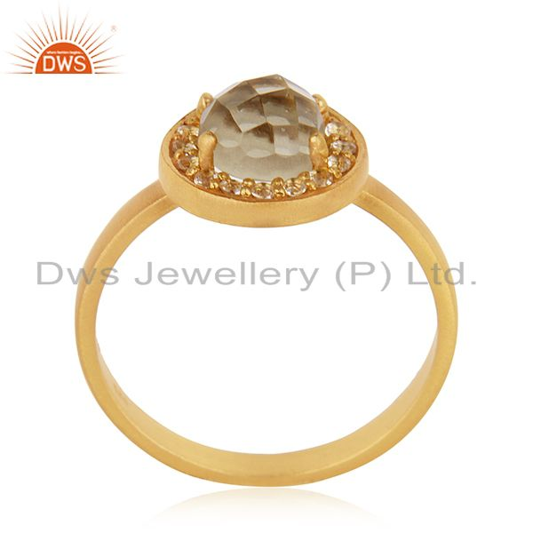 Gold Plated 925 Silver Lemon Topaz Gemstone Stackable Ring Manufacturer India