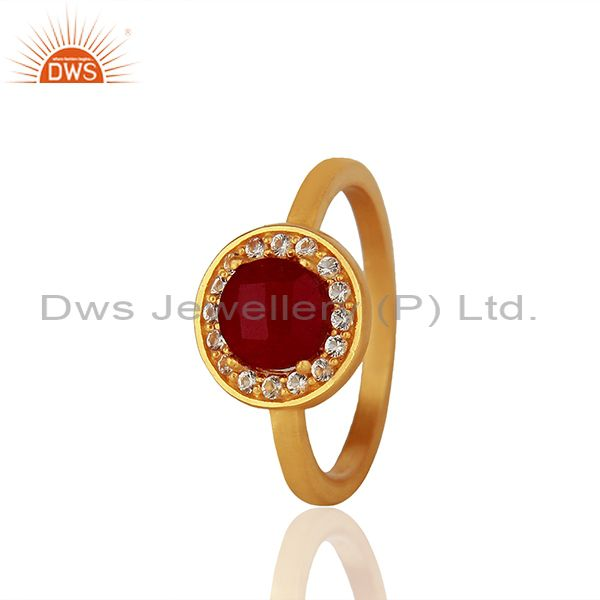 White Topaz and Ruby Gemstone 92.5 Silver Gold Plated Rings Jewelry