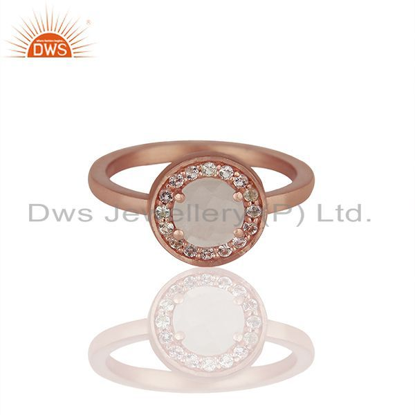 Rose Gold Plated 925 Silver Multi Gemstone Cutom Rings Wholesale