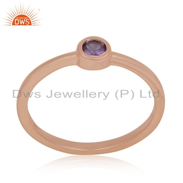 Natural Amethyst Gemstone Rose Gold Plated 925 Silver Ring Manufacturer India