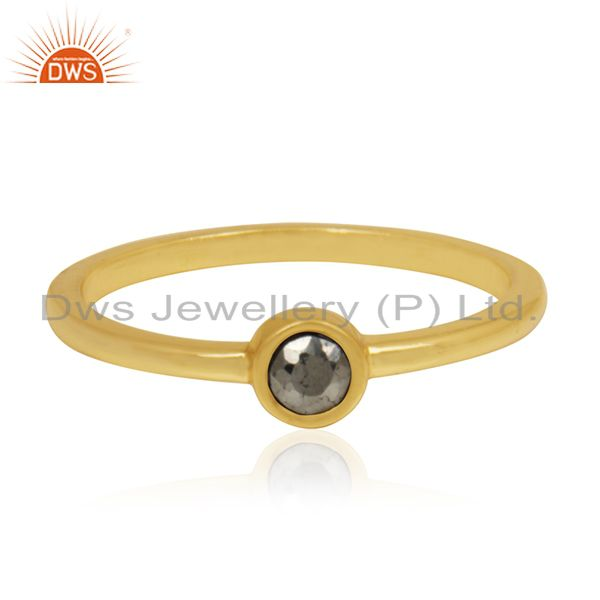 Pyrite Gemstone Gold Plated 92.5 Sterling Silver Handmade Ring Manufacturer