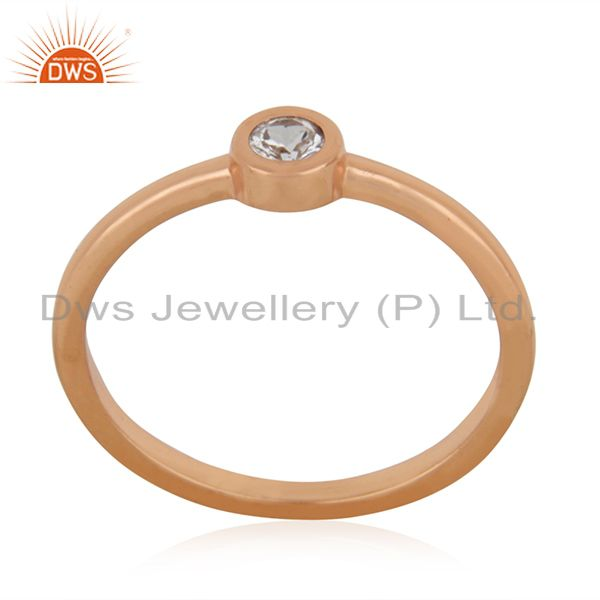 White Topaz Rose Gold Plated 92.5 Sterling Silver Handmade Ring Manufacturers