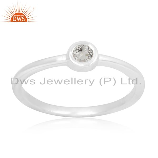 92.5 Sterling Fine Silver White Topaz Gemstone Handmade Rings Manufacturer India