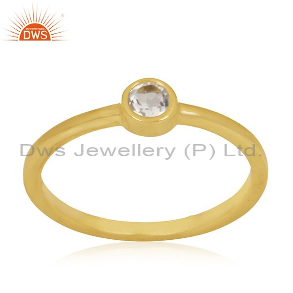 White Topaz Gemstone Sterling Silver Gold Plated Handmade Ring Manufacturer