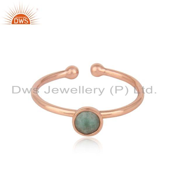 Natural Emerald Gemstone Rose Gold Plated Designer Silver Ring Jewelry