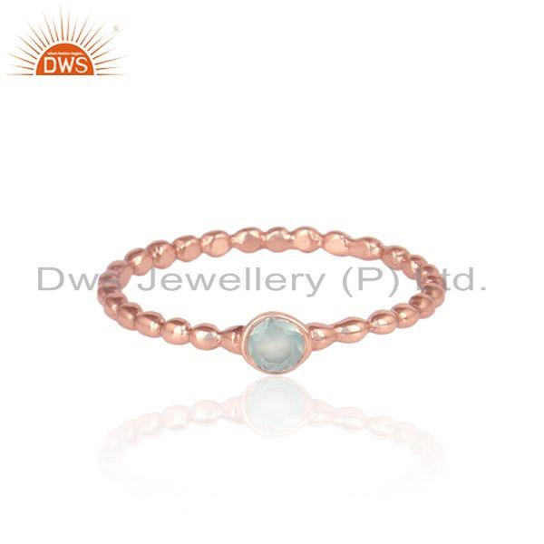Textured Aqua Chacedony Solitaire Ring in Rose Gold on Silver 925