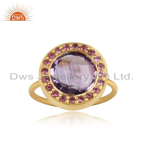 Designer pink tourmaline, amethyst halo ring in yellow gold on silver