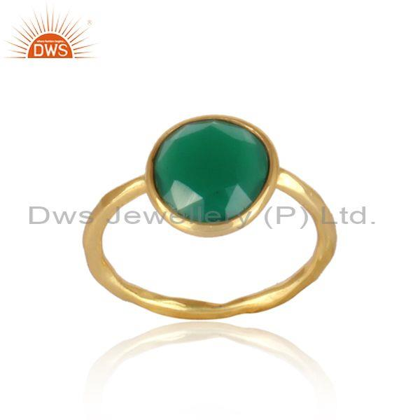 Handmade green onyx gold on sterling silver statement ring