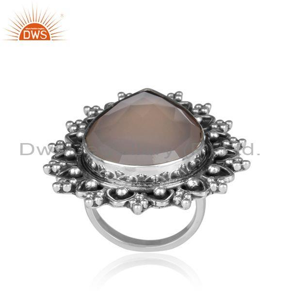 Gray Chalcedony Set Oxidized 925 Silver Tear Drop Boho Ring
