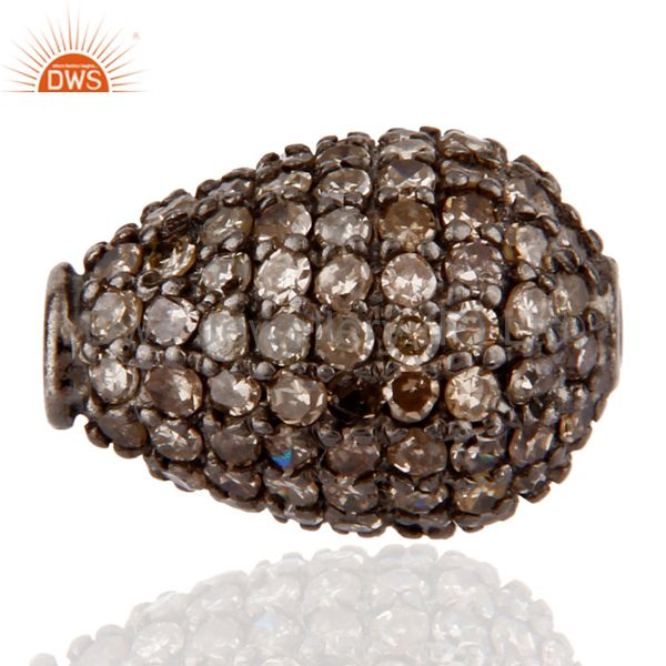 925 Sterling Silver Bead with Pave Diamond Finding Jewelry