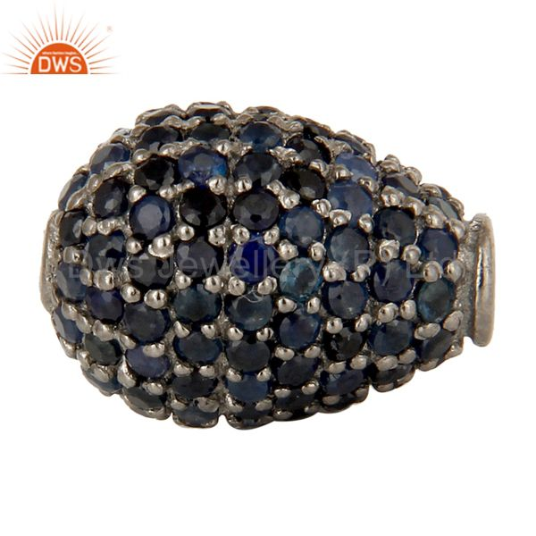 925 sterling silver pave set blue sapphire gemstone finding charms jewelry