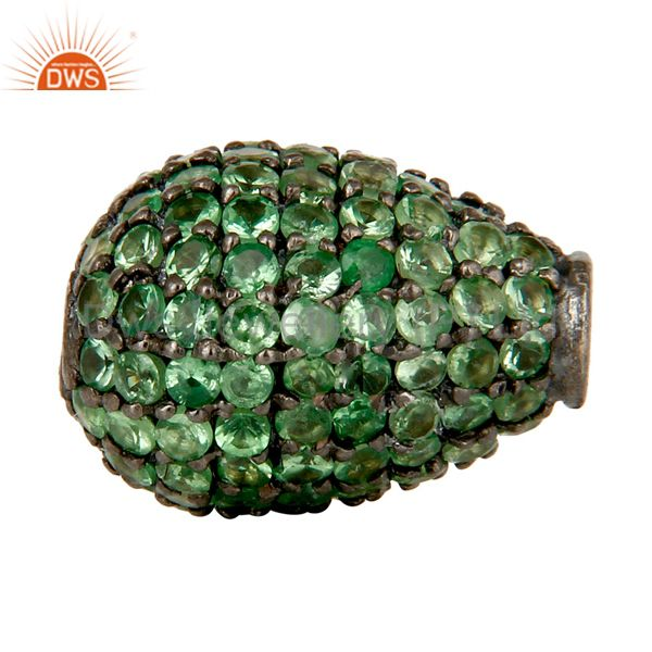 Oxidized sterling silver pave tsavorite gemstone beads finding charms jewelry