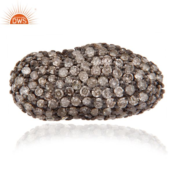 925 sterling silver pave diamond beads charms finding for jewelry making