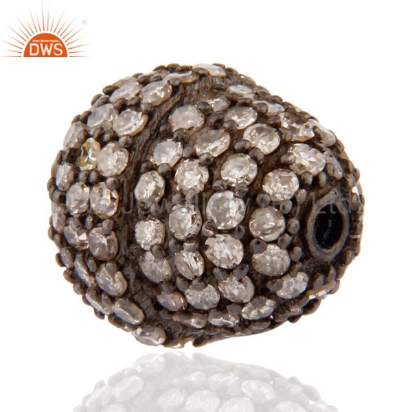 Natural diamond pave studded bead finding sterling silver spacer jewerly